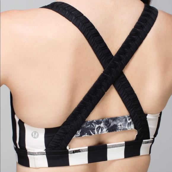 Lululemon Inner Heart Bra Sz 6 Black Stripes by Lululemon Athletica